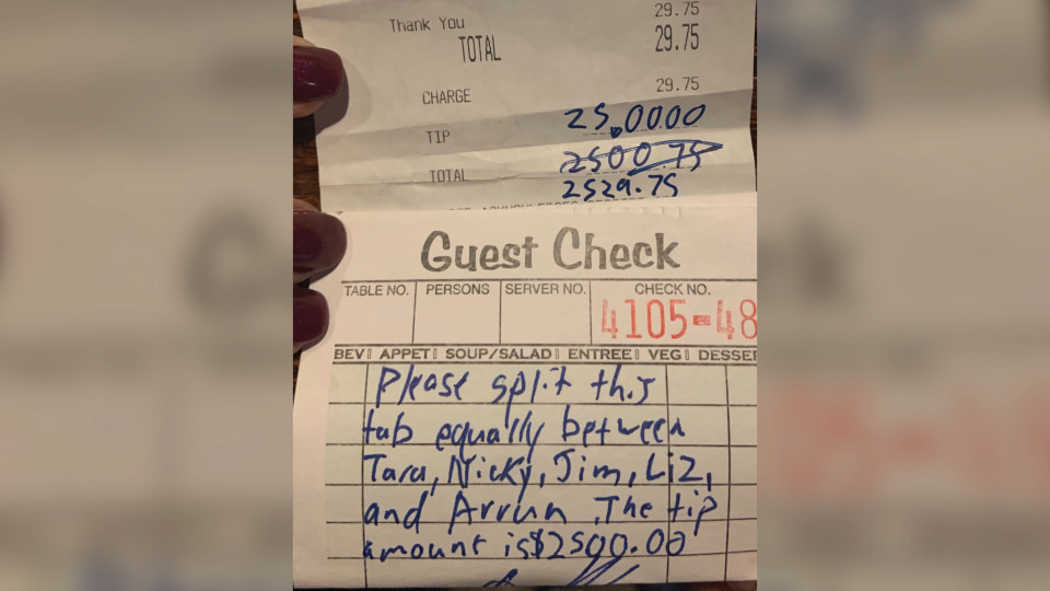 Guest leaves $2500 tip